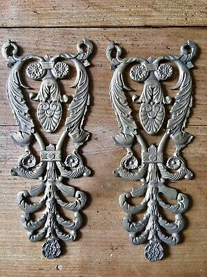 Pair Antique Ormolu Furniture Mount Brass Gilt Foliage French Decorative Door