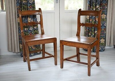Antique Pair of Country Made Pitch Pine & Beech Chairs,Side Chairs,Antique Chair
