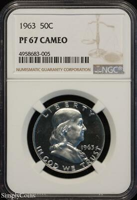 1963 Franklin Silver Half Dollar ~ NGC PF67 CAMEO ~ FROSTY CAM PROOF! R8-683-005