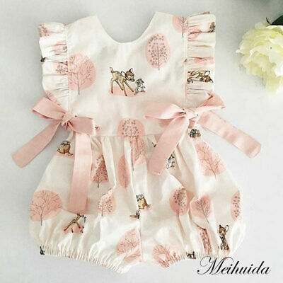 Fashion Sweet Newborn Baby Girl Deer Romper Bodysuit Jumpsuit Clothes Outfits