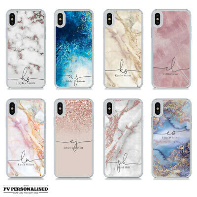 CUSTOM NAME INITIALS PERSONALISED MARBLE HARD CASE IPHONE 5 SE 6 7 s 8 X XR MAX