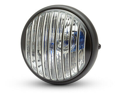 "Motorbike Headlight 7.7"" with Prison Grill for Project Cafe Racer & Scrambler"