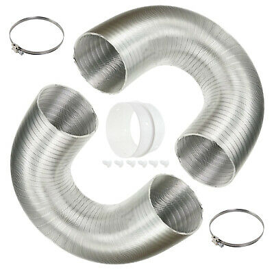 "2 x Aluminium 1.5m Vent Hoses 4"" + 2 x Clips Adapter for ELECTROLUX Tumble Dryer"