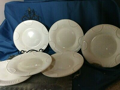 """6 Lenox BUTLER'S PANTRY 9-1/8"""" Accent Salad Plates good with crazing"""