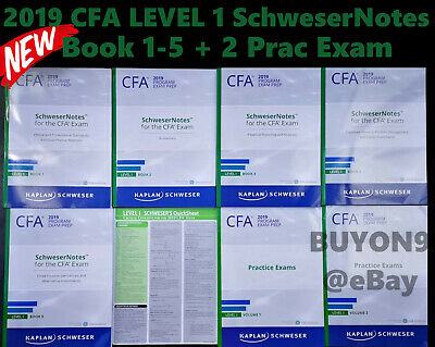 2019 CFA Exam June DEC Prep Level 1 SchweserNotes Books 1-5 + 2 Practice Exams