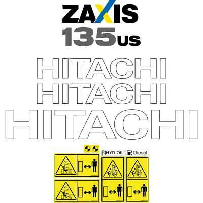 Hitachi ZX135US-5 Decals Stickers  ZX135US-5 New Repro Decal Kit