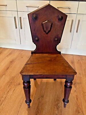 Antique Chair Wooden Antique Victorian Hall Chair Collectable Hallway Chair