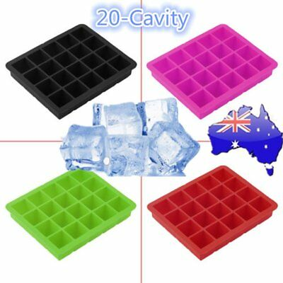 20-Cavity Large Cube Ice Pudding Jelly Maker Mold Mould Tray Silicone Tool AU