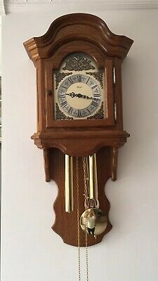 Wall Clock Pendulum Weight Driven Hermle (Germany) in Oak Cabinet Antique Look