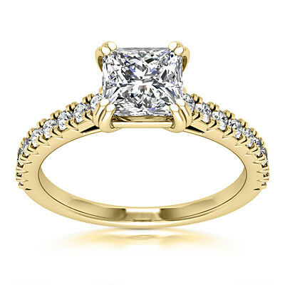 Solitaire Pave 1.80 CT SI1/H Princess Cut Diamond Engagement Ring Yellow Gold