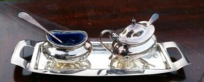 Antique  Epns Silver Plated 3 Piece Cruet Set With Blue Glass Liners/Spoons.