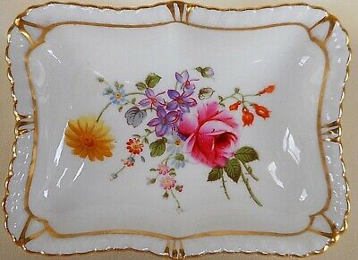 Decorative Small Hand Painted Royal Crown Derby Dish ~ Beautiful Flowers
