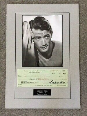Gregory Peck Signed Check Ensemble Presentation Of Hollywood Actor