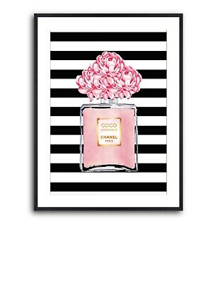 Chanel Perfume Wall Art Poster With Stripes - Chanel Wall Art, Perfume Art Print