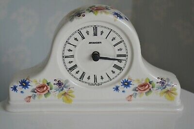 Vintage Staiger Grayshott Pottery Clock With Floral Frame Working Excellent Cond