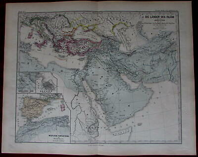 Lands of Islan historical 750-945 Arabia Mesopotamia 1880 Menke Spruner map