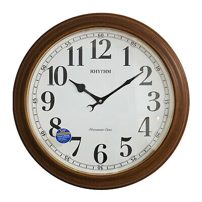 Traditional Rhythm Wood Finished Large Round Wall Hanging Clock Chimes Night Off