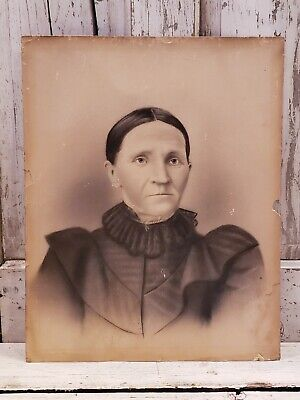 Nice Antique Charcoal Picture WOMAN IN MOURNING 16x20 Portrait Photograph