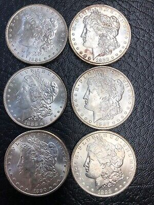 *Lot Of 6* Morgan Silver Dollar Uncirculated - BU-Mix Dates