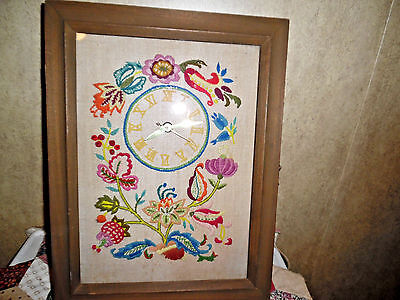 Antique Embroidered Clock In Glass Case