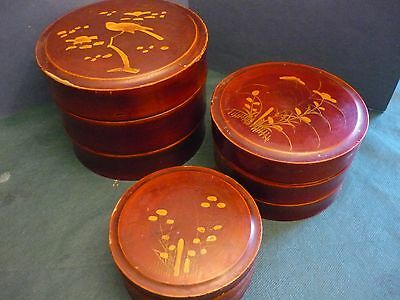 Old Chinese Trio Laquer Boxes  post 1940 Wood   圆柱形盒     Tris Scatole laccate