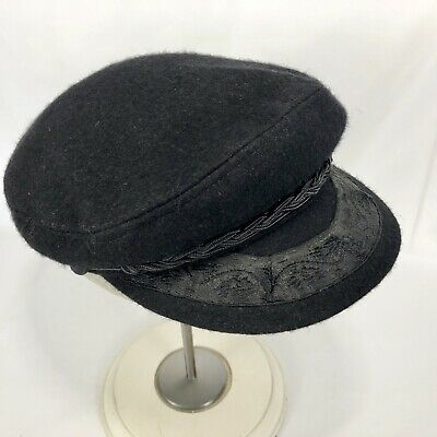 Vintage Greek Fisherman Hat Black Wool Cap Made in Greece Size 7 3/8 Large 59