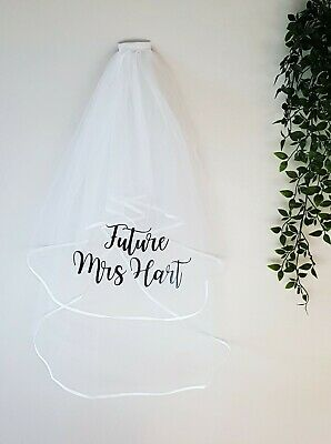 Personalised Hen party veil personalised future Mrs in black