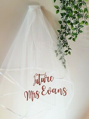 Hen party two tier veil personalised future Mrs in copper