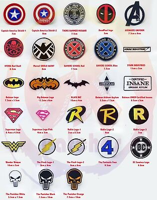 Comic Character Marvel Avengers and DC Comics Iron on Sew on Embroidered Patches