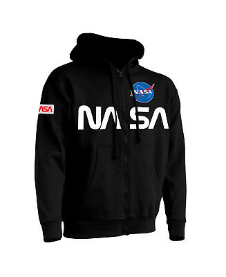 Felpa Cappuccio Zip Unisex Toppa Patch Nasa M-L-Xl