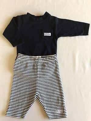 Navy Babygro Top & Trousers Set, Age 0-3 months