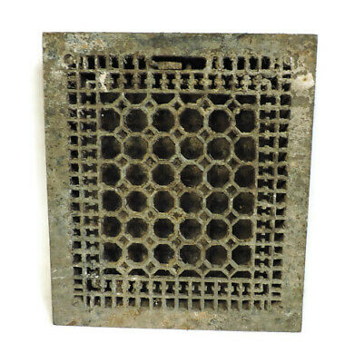 Antique Cast Iron Heating Grate Vent Register Ornate Honeycomb Design 16 X 14