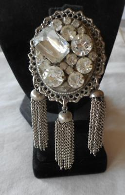 Antique Victorian Large Clear Faceted Rhinestones Hanging Tassels Brooch Pin