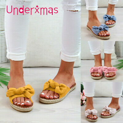 UK Womans Slip On Sandals Bow Flat Mule Summer Sliders Espadrille Shoes Sizes4-7