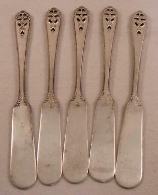 5 Vintage STERLING SILVER Butter Knives, Sunflower Pattern - 164 Grams Total
