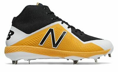 New Balance Mid-Cut 4040v4 Metal Baseball Cleat Mens Shoes Black with Yellow