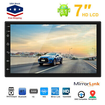Android 8.1 WiFi 2Din 7inch Quad Core GPS Navi Car Stereo MP5 Player AM FM Radio