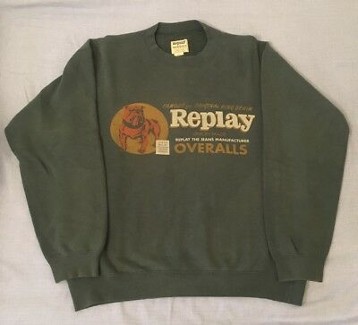 Felpa Sweater Sweatshirt REPLAY Vintage Bulldog Green Cotton Cotone Verde S M
