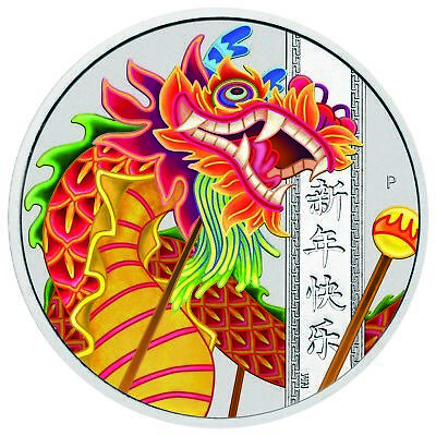 2019-P $1 Tuvalu Chinese New Year Dragon 1oz .9999 Silver Coin