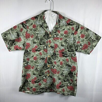 f12a8f93 Kamp Shirt US Military Hawaiian Aloha Shirt Green Bomber Short Sleeve XL