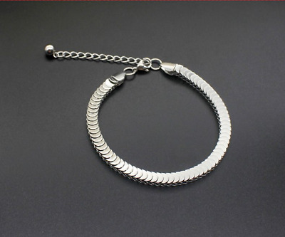 Wholesale 5mm 7'' Stainless Steel Silver Square Snake Chain Bracelet Unisex