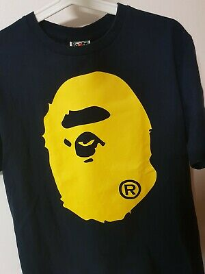 b152b925 Authentic Bape A Bathing Ape T-shirt Size Medium Yellow Bape Head (Pre Owned