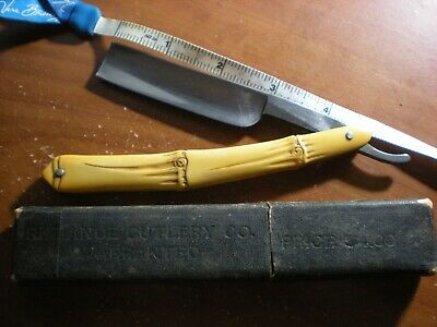 RARE Vintage Faux Bamboo Reliance Cutlery Co.Stright Razor And Box From Germany