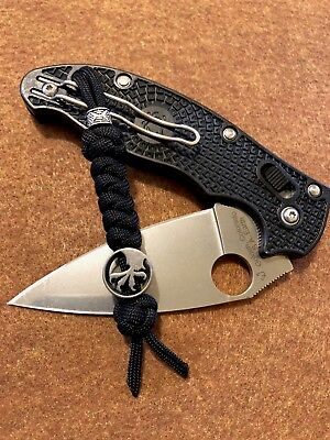 550 Paracord Knife Lanyard Jet Black Titanium Alloy Microtech Eagle Talon Bead