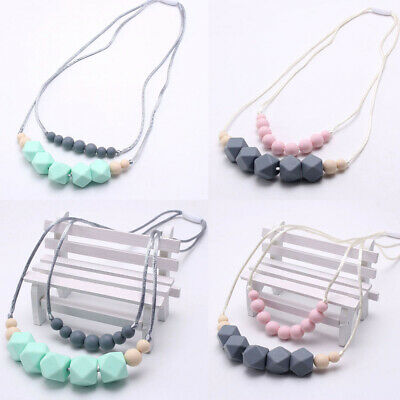 Food Grade Silicone Wood Teether Beads Baby Teething Chew Necklace Shower Gifts