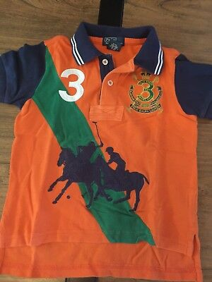 Ralph Lauren Boys Polo Shirt Orange Blue Size 4 GUC