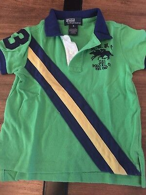 Ralph Lauren Boys Polo Shirt Green blue Size 4 GUC