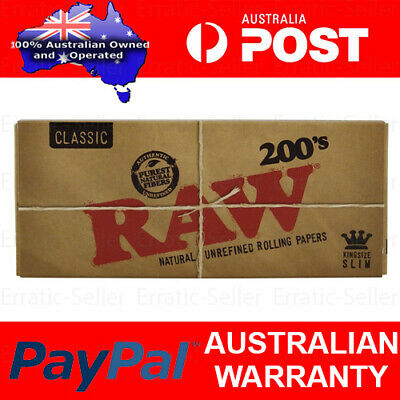 RAW 200's Classic Natural Creaseless Rolling Papers Smoking Cigarette Tobacco