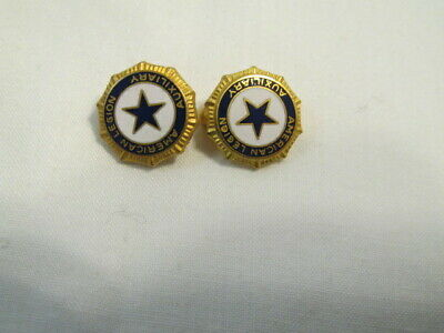 2 Enameled American Legion Auxiliary  Pins Gold Colored w/ Blue & White E52