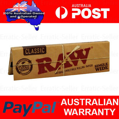 Raw Classic Single Wide 50 Papers Tobacco Cigarette Rolling Smoking Smoke